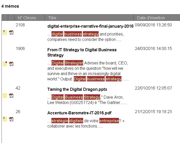 gestion électronique de documents, résultats recherche memo